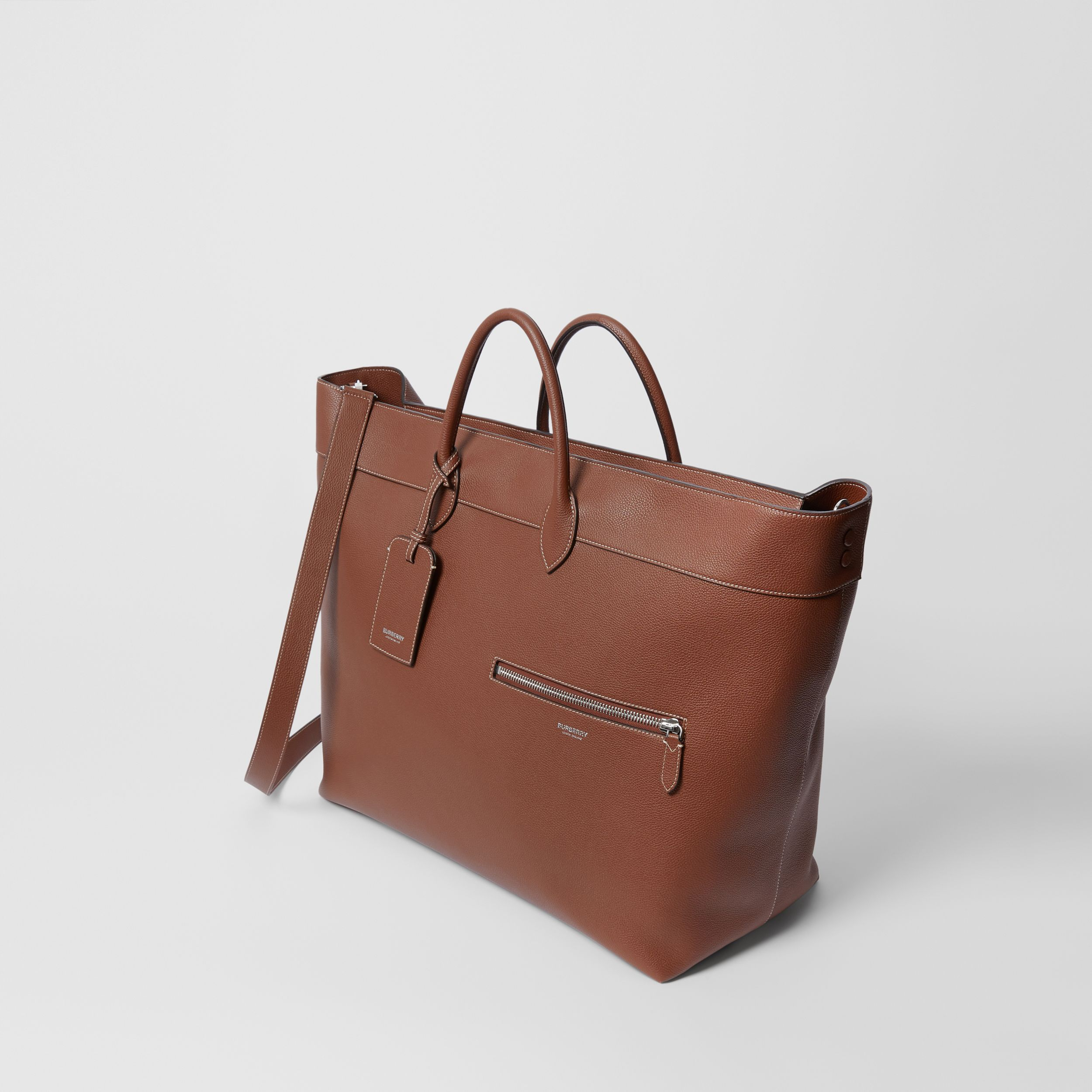 Grainy Leather Holdall in Tan - Men | Burberry - 4