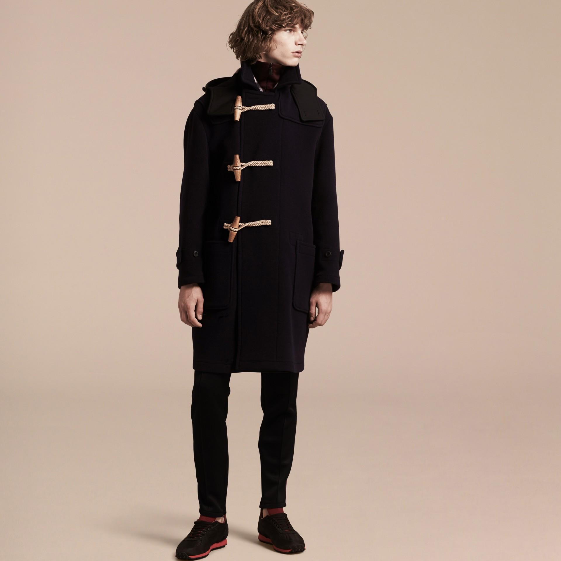 Navy Montgomery in misto di lana doppio con cappuccio - immagine della galleria 7