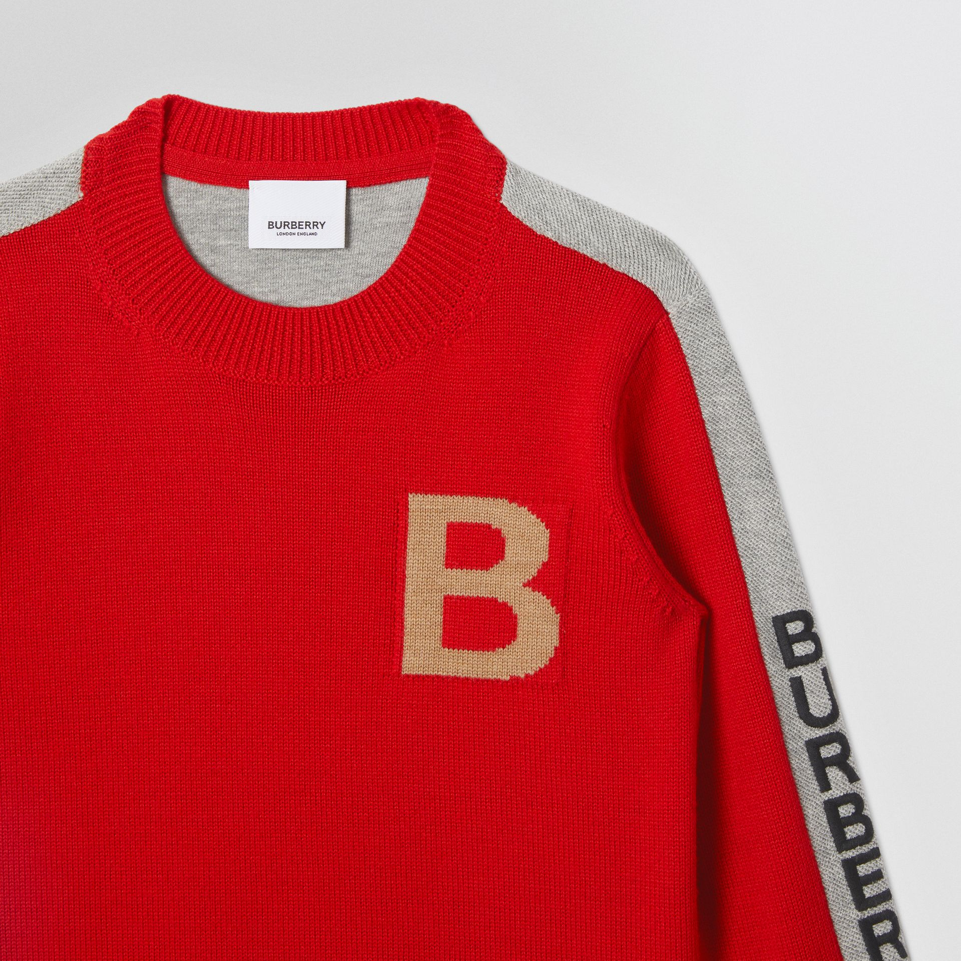 B Motif Merino Wool Jacquard Sweater in Bright Red | Burberry Australia - gallery image 4