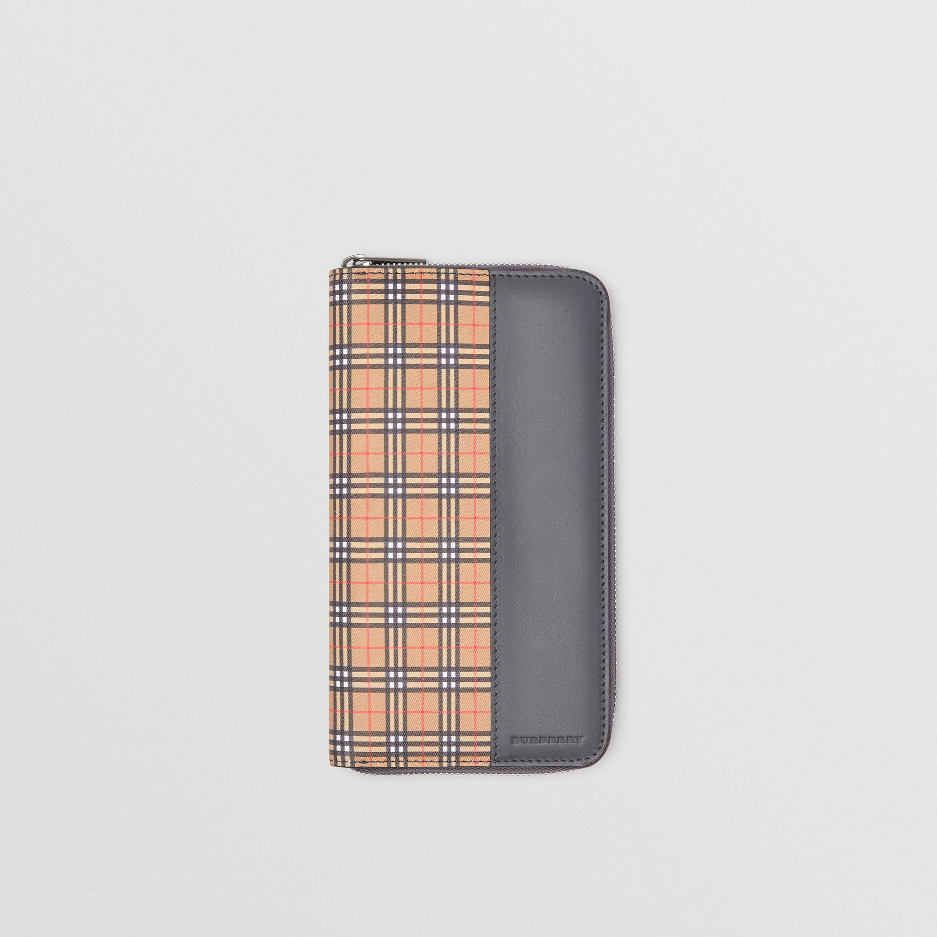 Small Scale Check and Leather Ziparound Wallet in Antique Yellow/dark Grey - Men | Burberry United Kingdom - gallery image 0