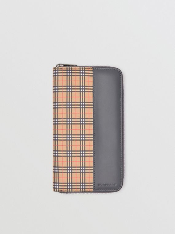 Small Scale Check and Leather Ziparound Wallet in Antique Yellow/dark Grey