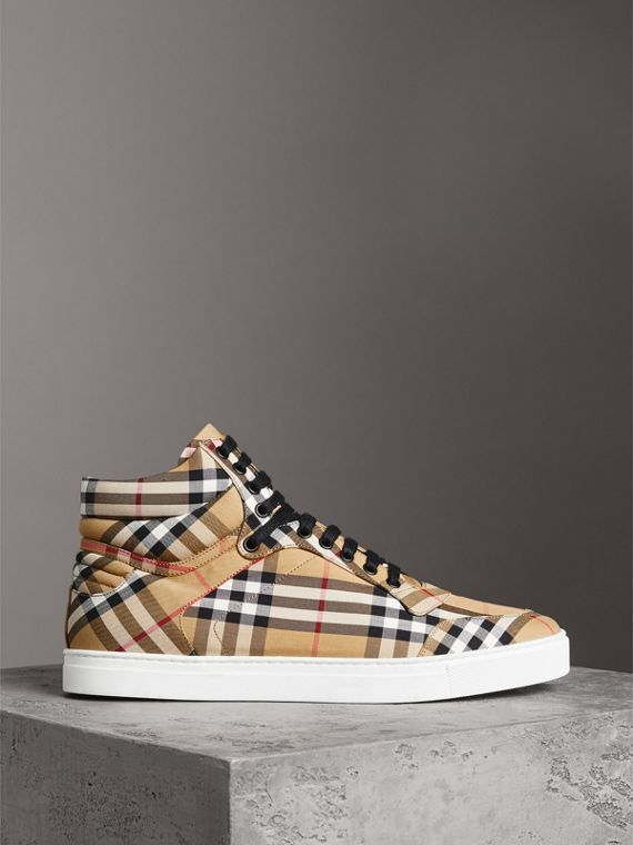 Vintage Check Cotton High-top Sneakers in Antique Yellow - Men | Burberry - cell image 3