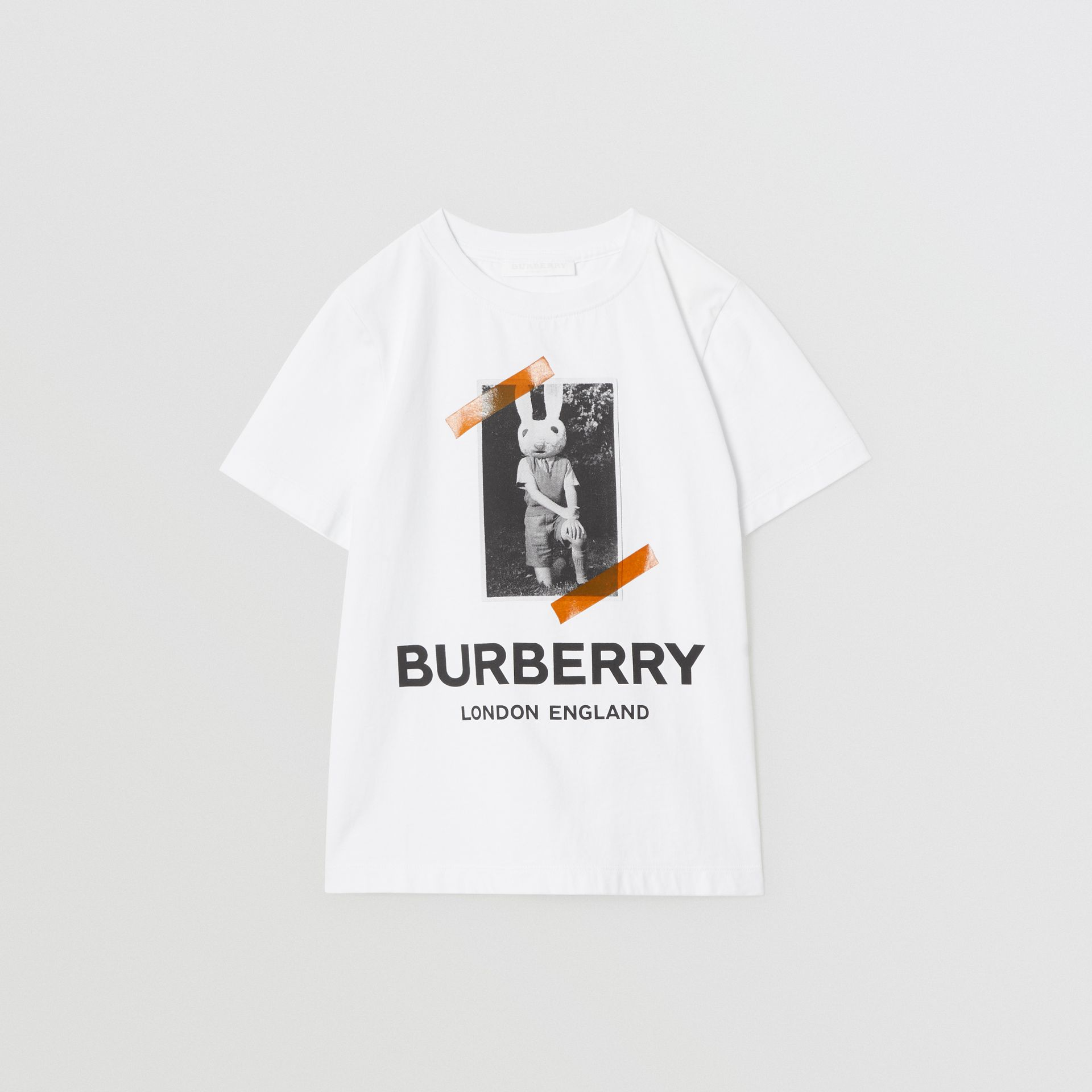 Vintage Photo Print Cotton T-shirt in White | Burberry Australia - gallery image 0