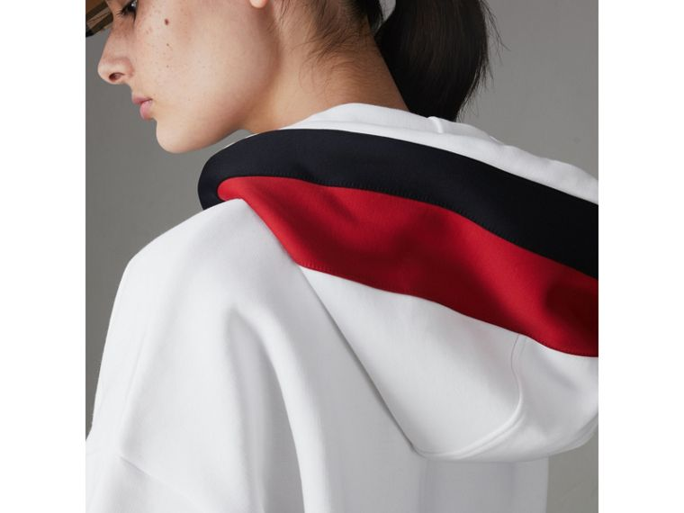 Stripe Detail Jersey Hoodie in White - Women | Burberry Hong Kong - cell image 4