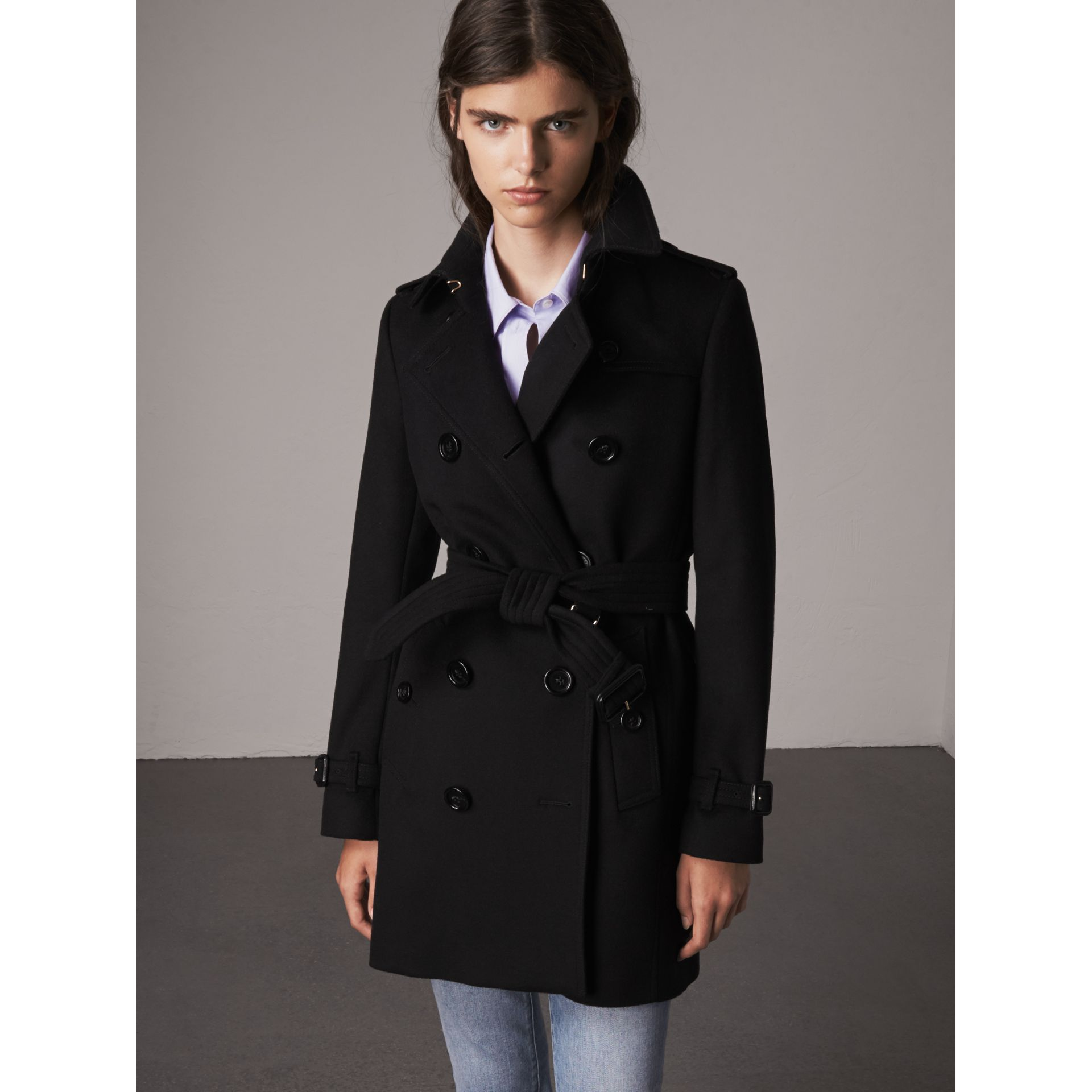 Wool Cashmere Trench Coat in Black - Women | Burberry - gallery image 6