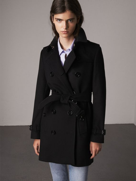 Trench coat in lana e cashmere (Nero)