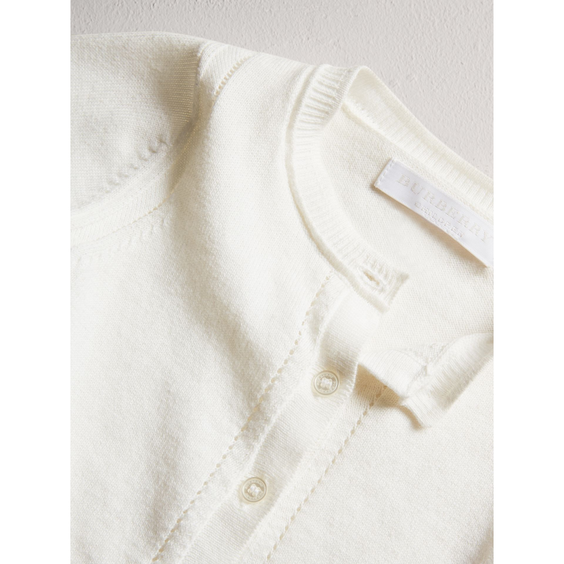 Check Cuff Cotton Cardigan in White | Burberry - gallery image 1
