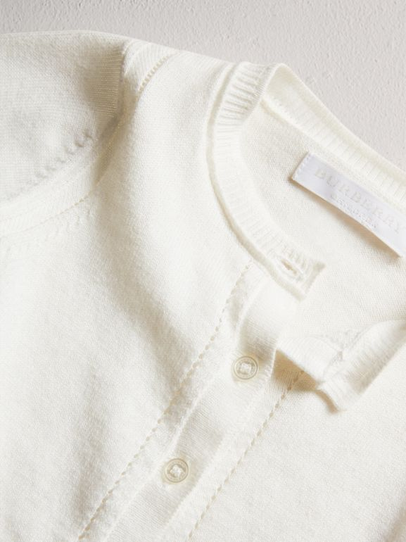 Check Cuff Cotton Cardigan in White | Burberry United Kingdom - cell image 1