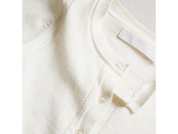 Check Cuff Cotton Cardigan in White | Burberry - cell image 1