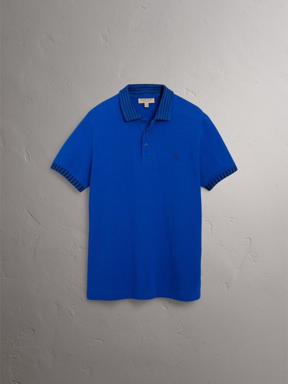 Knitted Detail Cotton Piqué Polo Shirt in Brilliant Blue