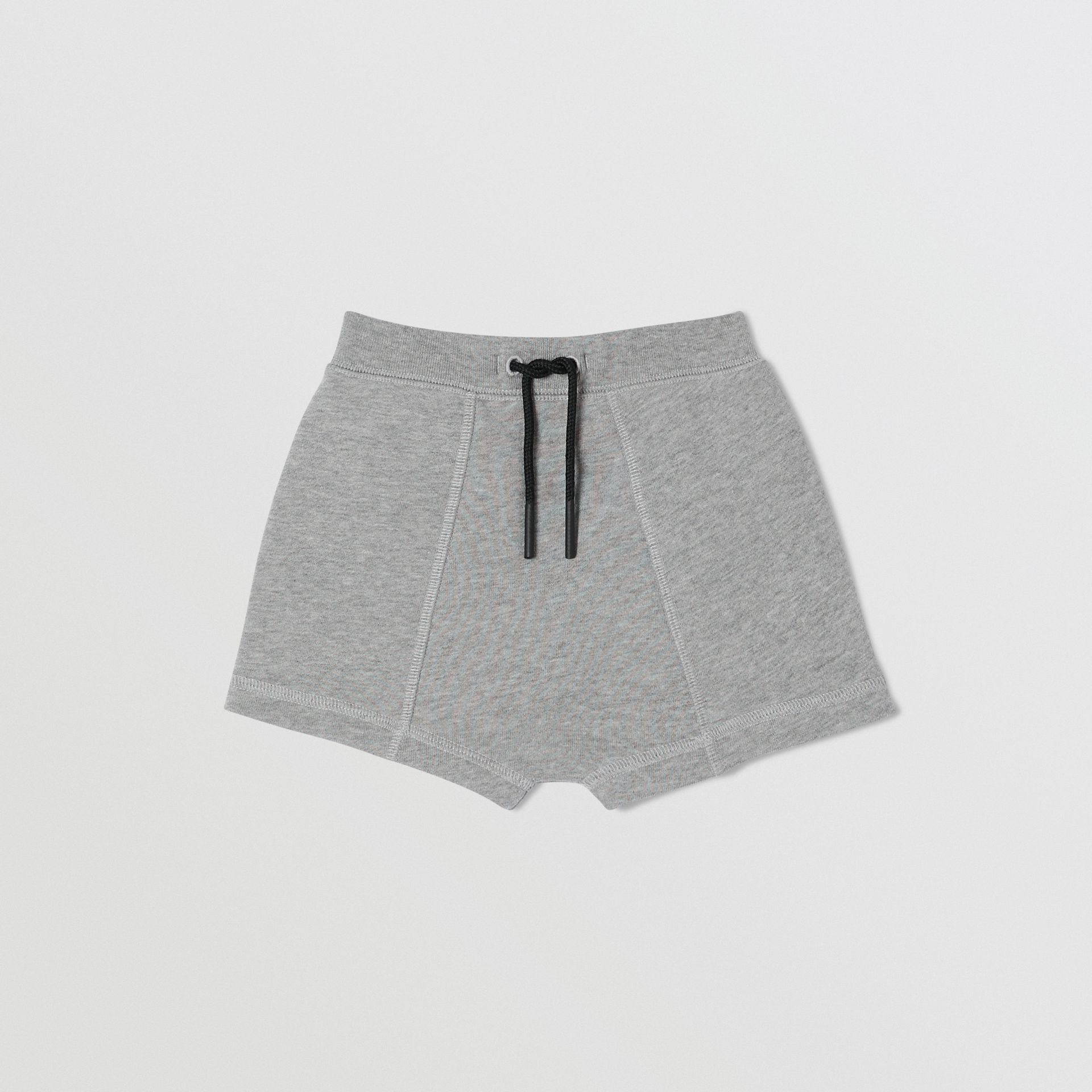 Logo Tape Cotton Drawcord Shorts in Grey Melange - Children | Burberry - gallery image 0