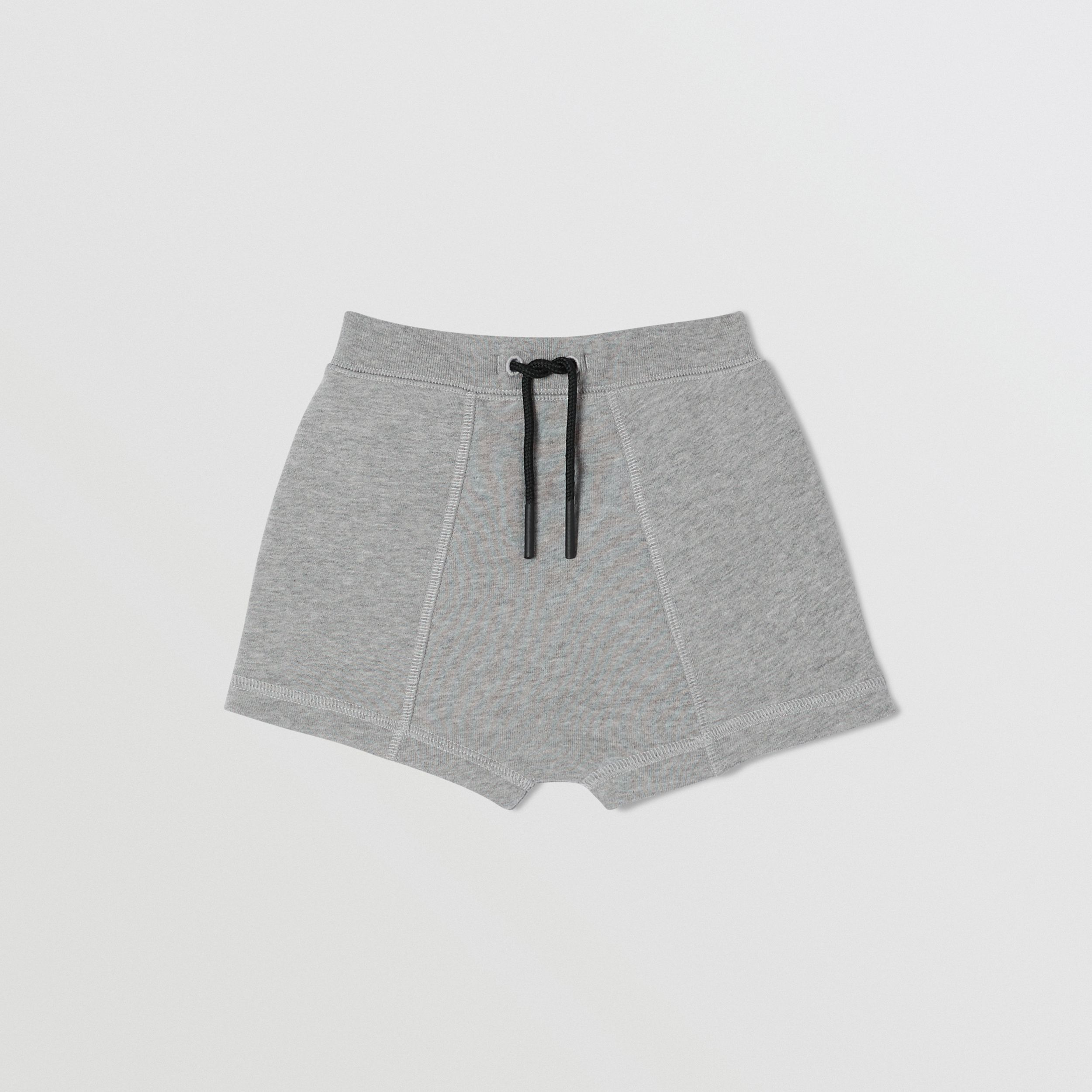 Logo Tape Cotton Drawcord Shorts in Grey Melange - Children | Burberry - 1