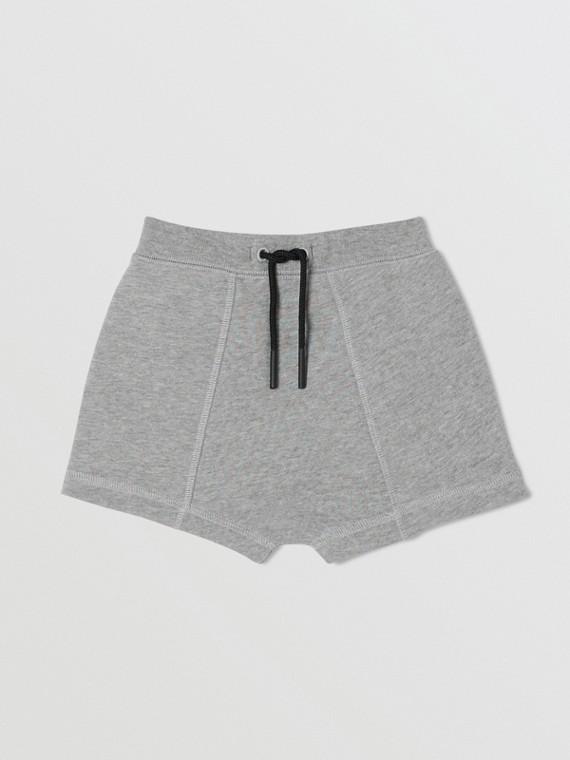 Logo Tape Cotton Drawcord Shorts in Grey Melange