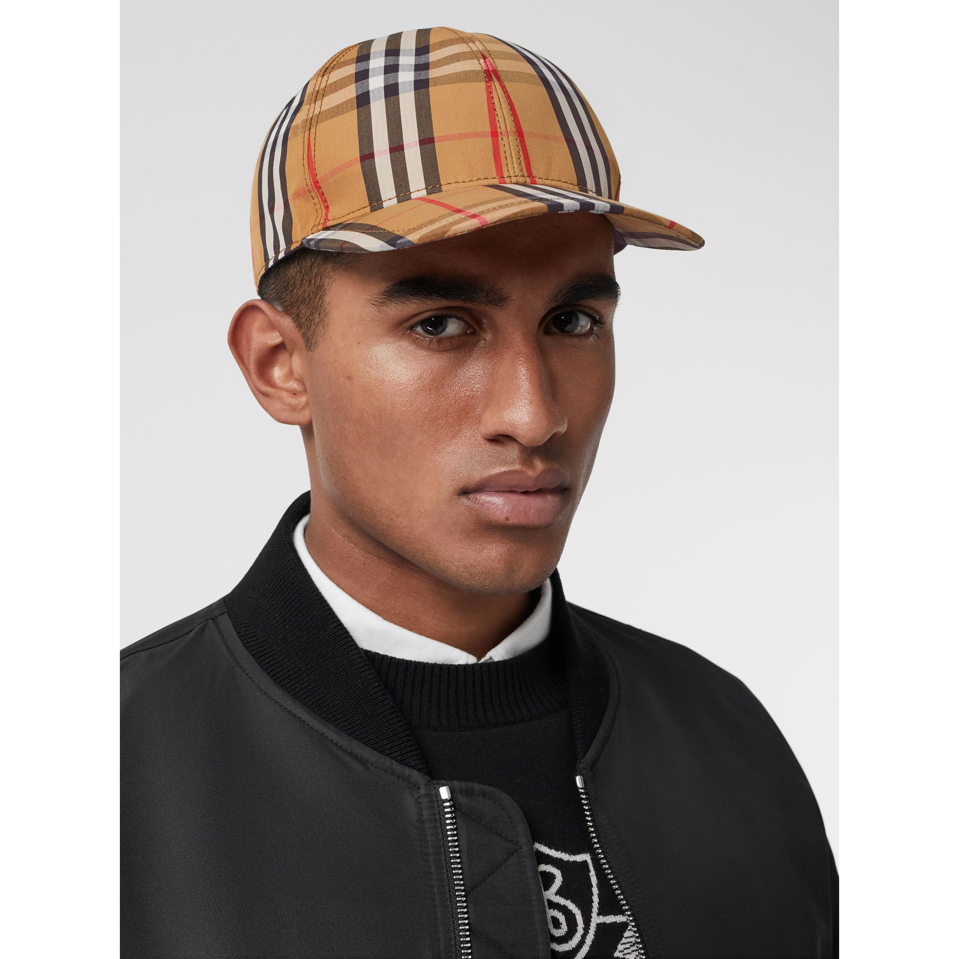 Vintage Check Baseball Cap in Antique Yellow | Burberry United Kingdom - gallery image 3