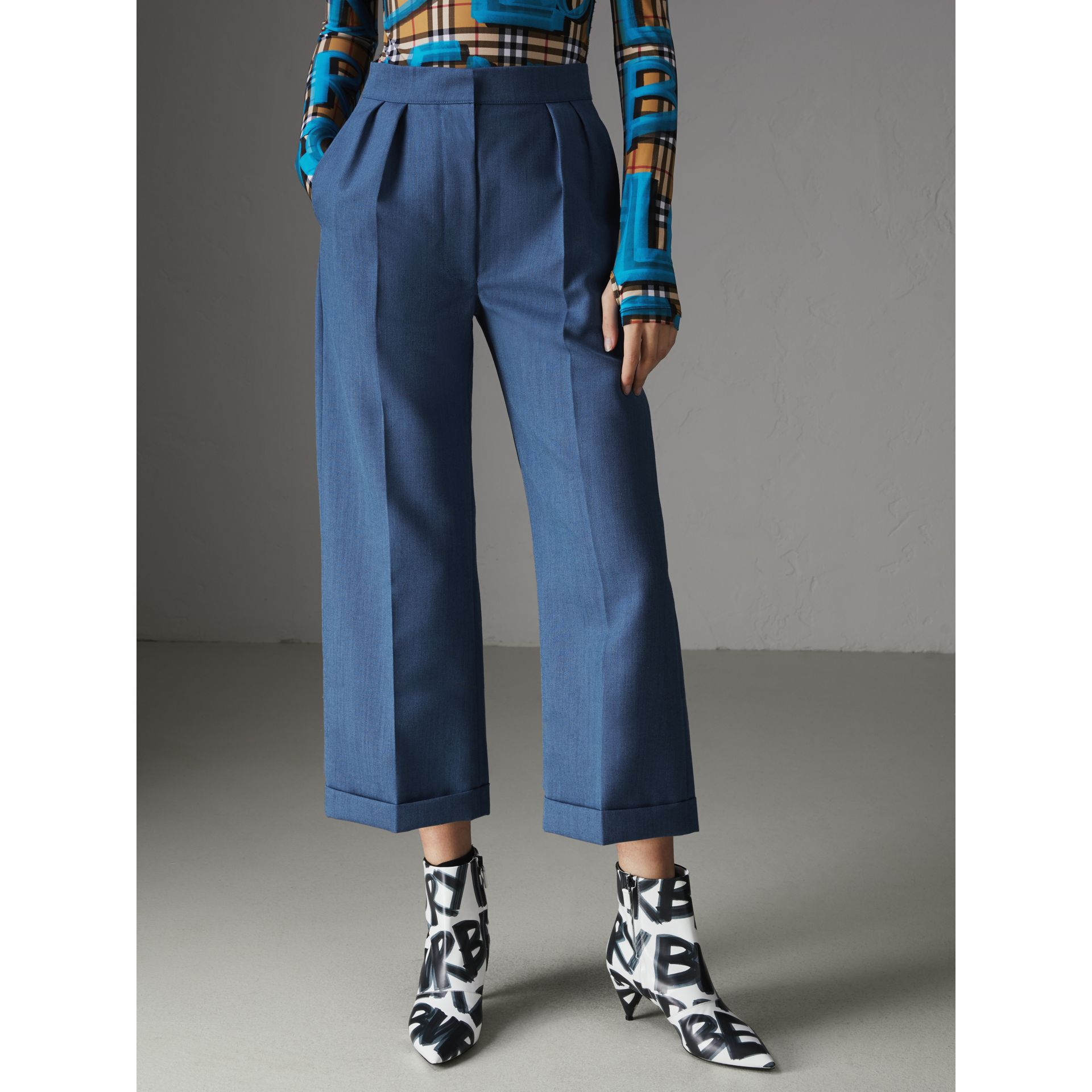 Wool Mohair Cropped Tailored Trousers in Bright Navy - Women | Burberry - gallery image 4