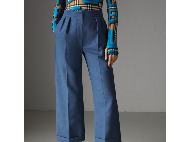 Wool Mohair Cropped Tailored Trousers in Bright Navy - Women | Burberry Singapore - cell image 4