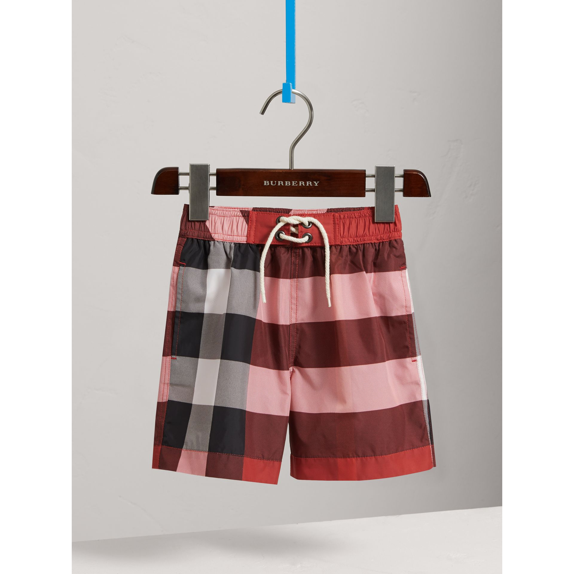 Check Swim Shorts in Parade Red - Boy | Burberry - gallery image 0