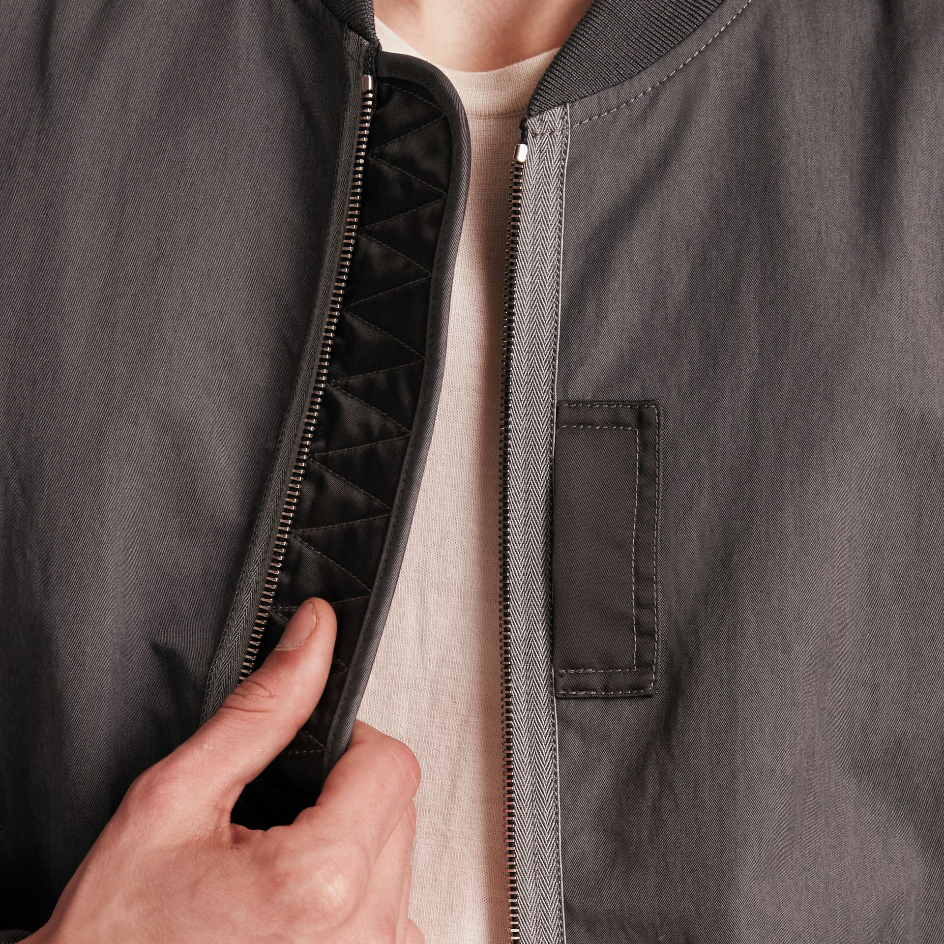 Airforce grey Matte Technical Cotton Bomber Jacket - gallery image 5