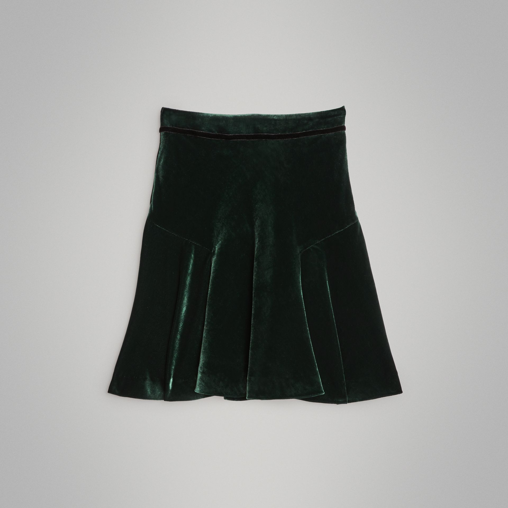Velvet Flared Skirt in Dark Forest Green | Burberry - gallery image 0