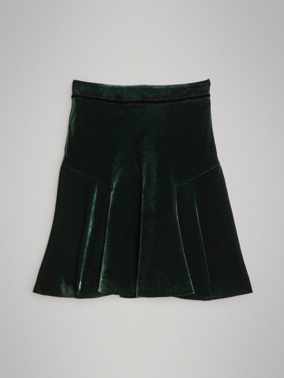 Velvet Flared Skirt in Dark Forest Green