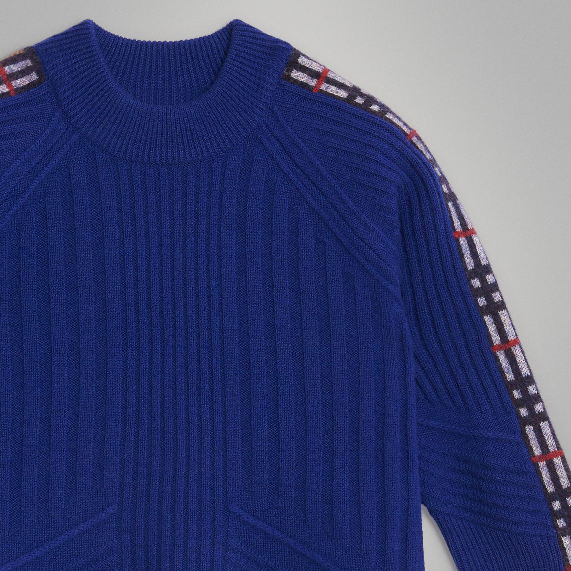 Check Detail Wool Cashmere Sweater in Cobalt Blue | Burberry - gallery image 4