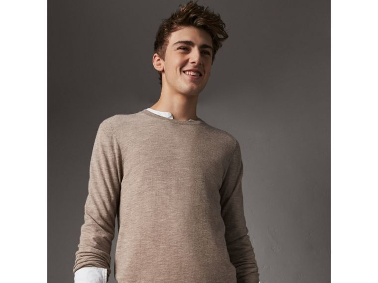 Check Jacquard Detail Cashmere Sweater in Camel Melange - Men | Burberry United Kingdom - cell image 1