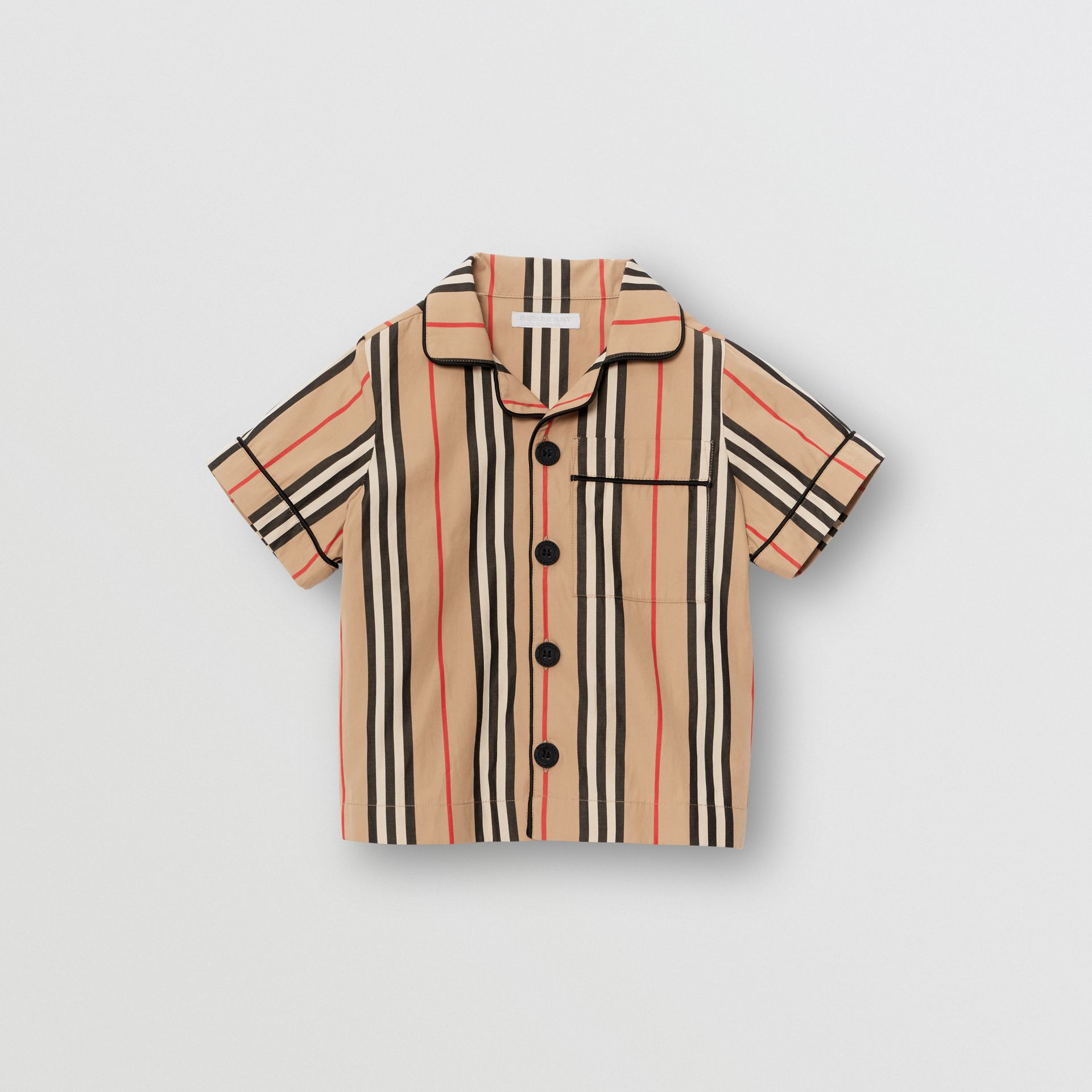 Short-sleeve Icon Stripe Cotton Poplin Shirt in Archive Beige | Burberry - gallery image 0