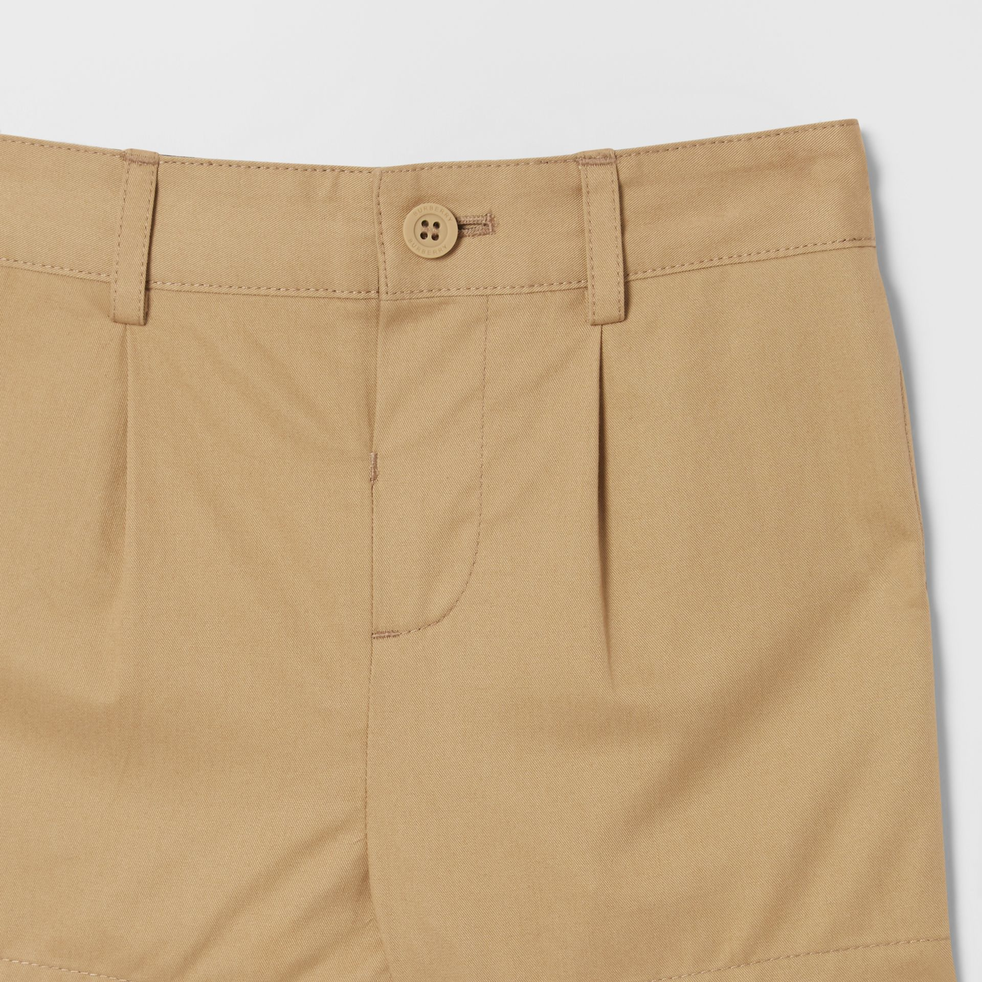 Logo Appliqué Cotton Twill Tailored Shorts in Archive Beige - Children | Burberry United States - gallery image 4