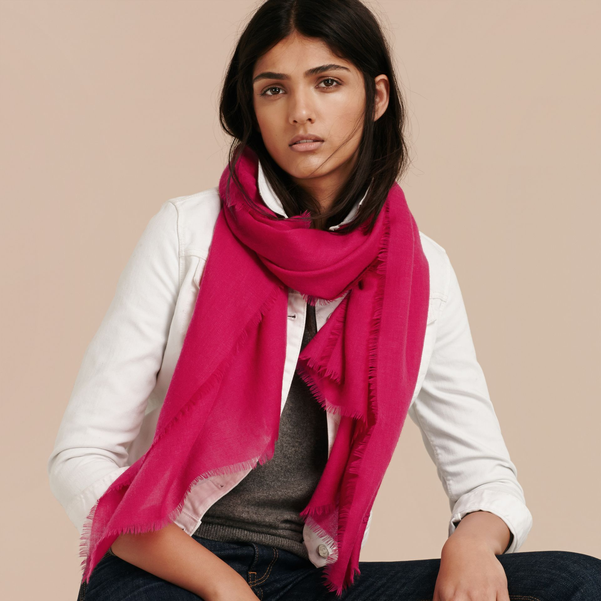 The Lightweight Cashmere Scarf in Fuchsia Pink | Burberry Australia - gallery image 3