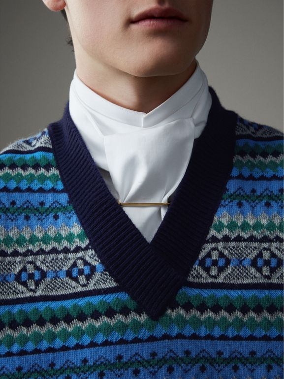 Fair Isle Wool Cropped Tank Top in Navy - Men | Burberry - cell image 1