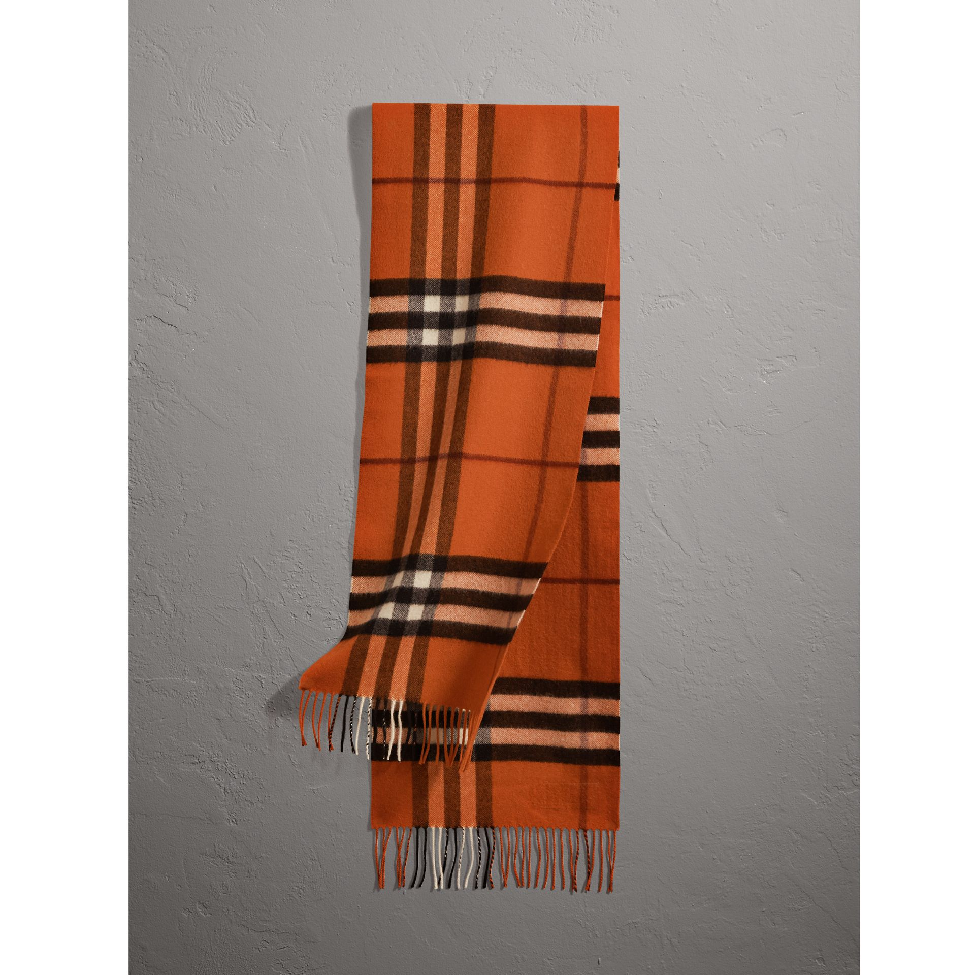 The Classic Cashmere Scarf in Check in Burnt Orange | Burberry Australia - gallery image 1