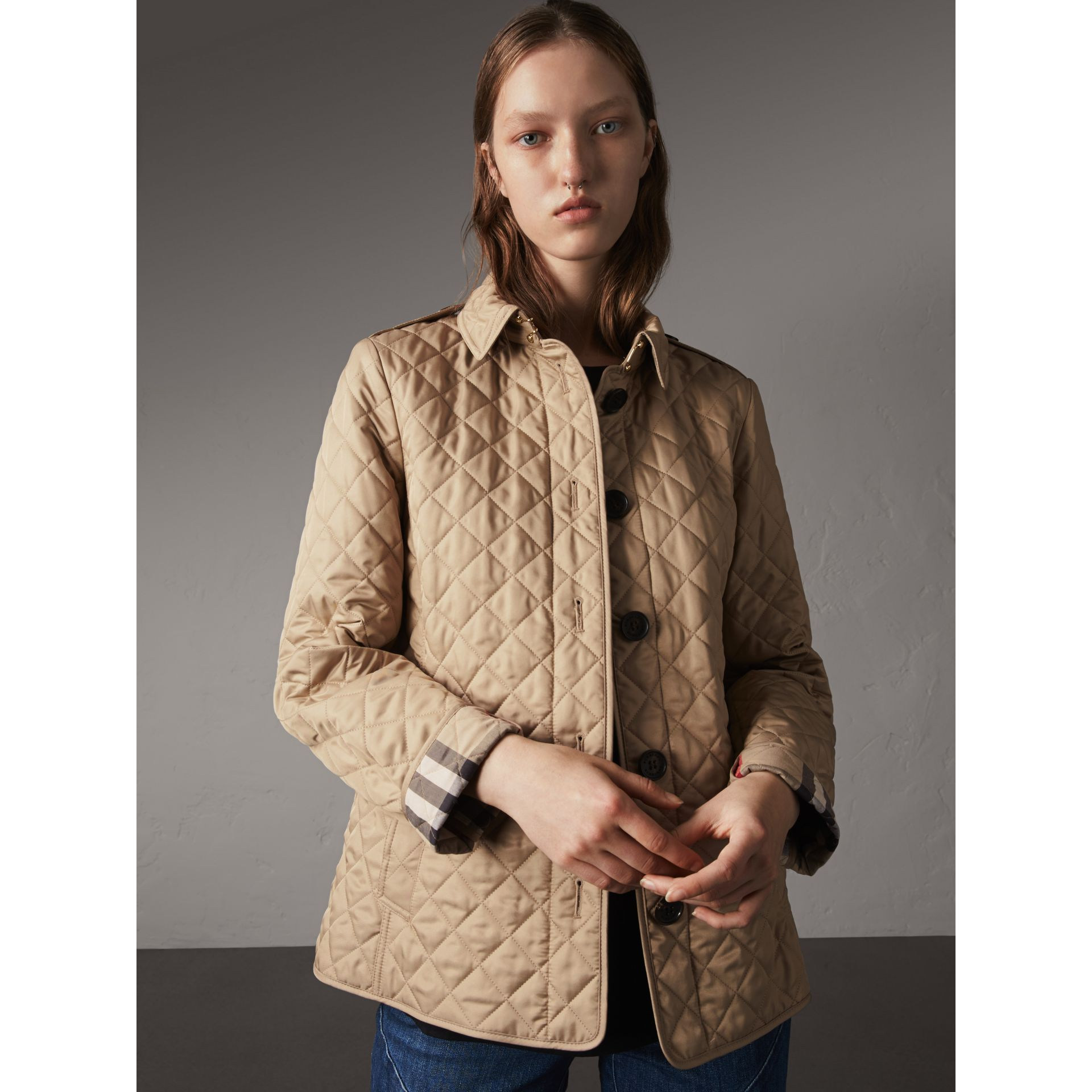 Diamond Quilted Jacket in Canvas - Women | Burberry Singapore - gallery image 6