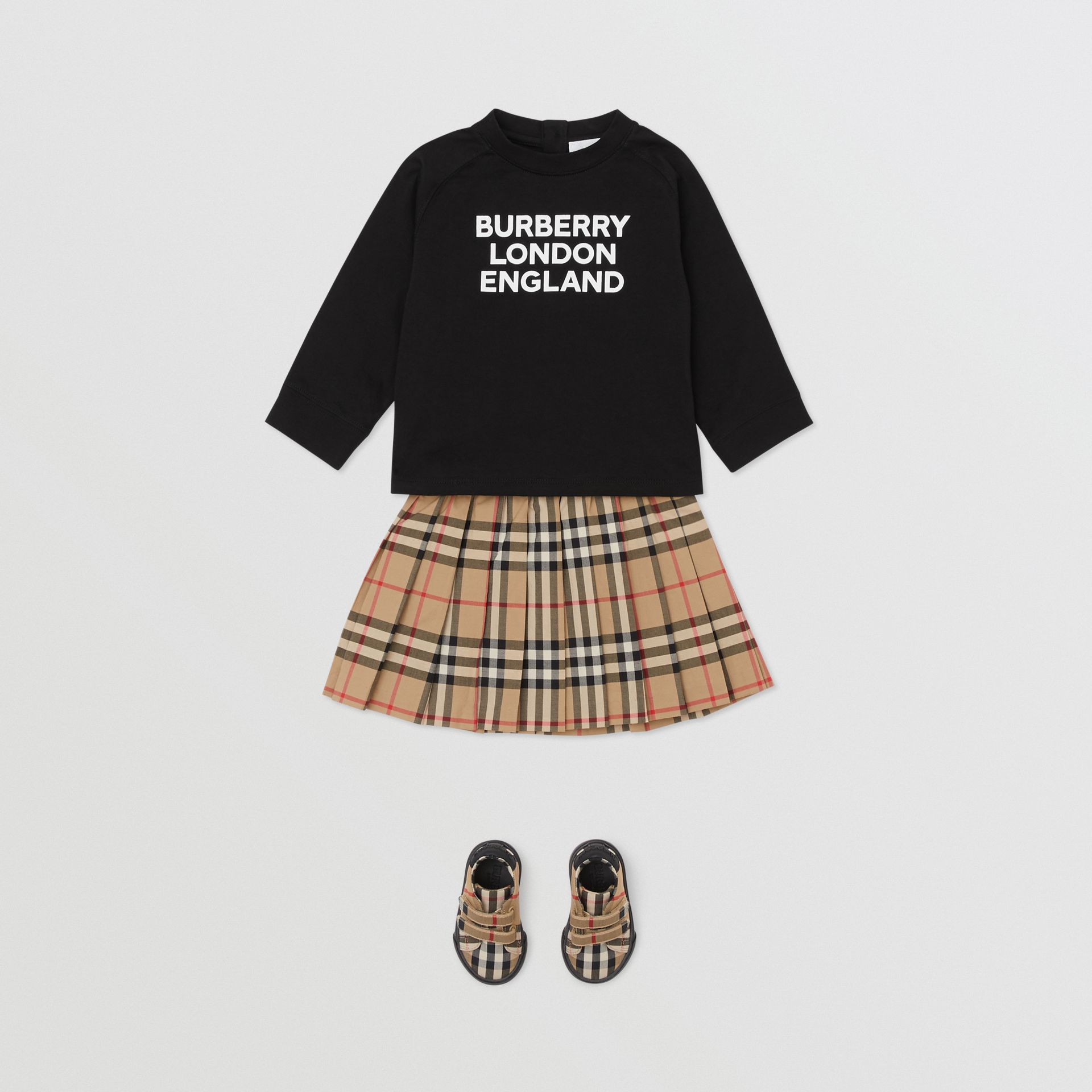 Long-sleeve Logo Print Cotton Top in Black - Children | Burberry United Kingdom - gallery image 2