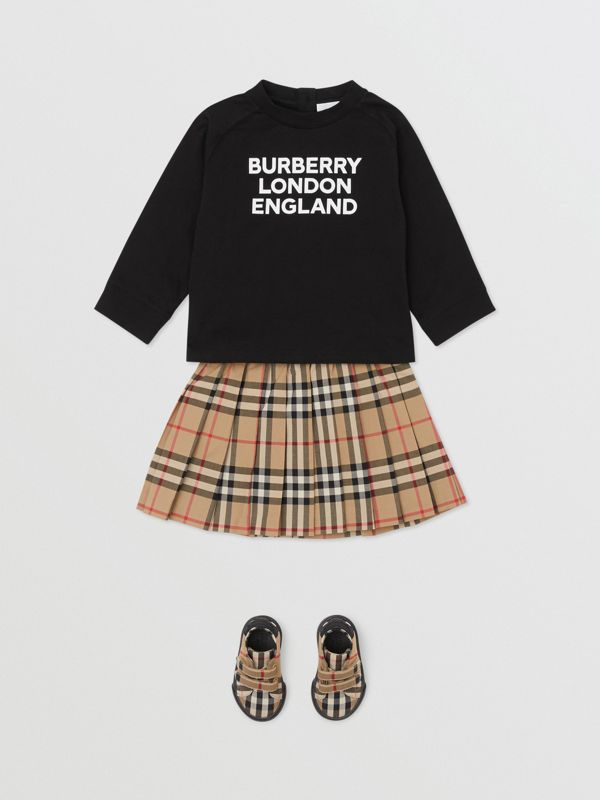 Long-sleeve Logo Print Cotton Top in Black - Children | Burberry United Kingdom - cell image 2