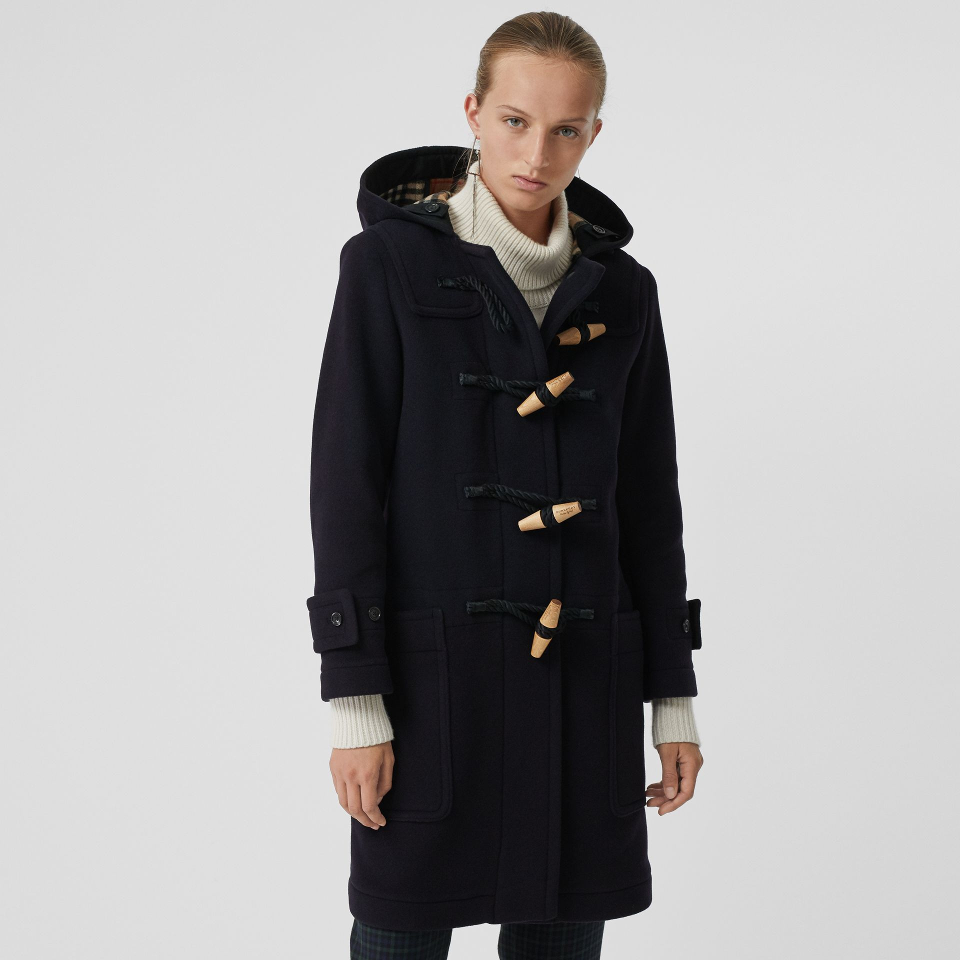 Wool Blend Oversized Duffle Coat in Navy - Women | Burberry United States - gallery image 5