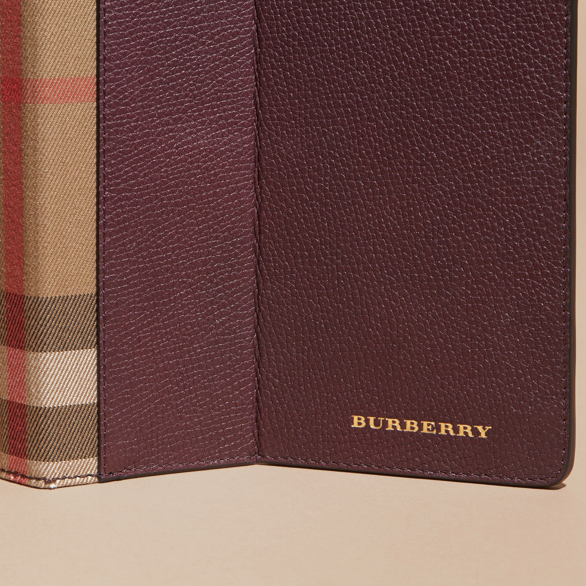 Wine Grainy Leather and House Check iPad Case Wine - gallery image 2