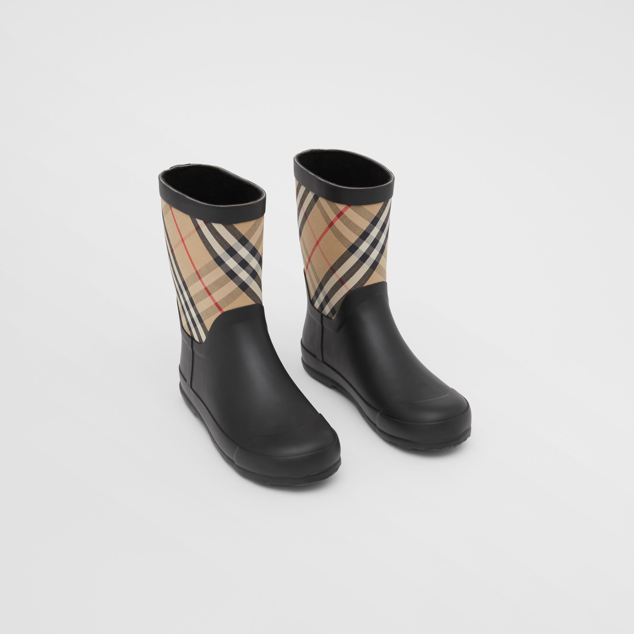 House Check Rubber Rain Boots in Archive Beige - Children | Burberry - 1