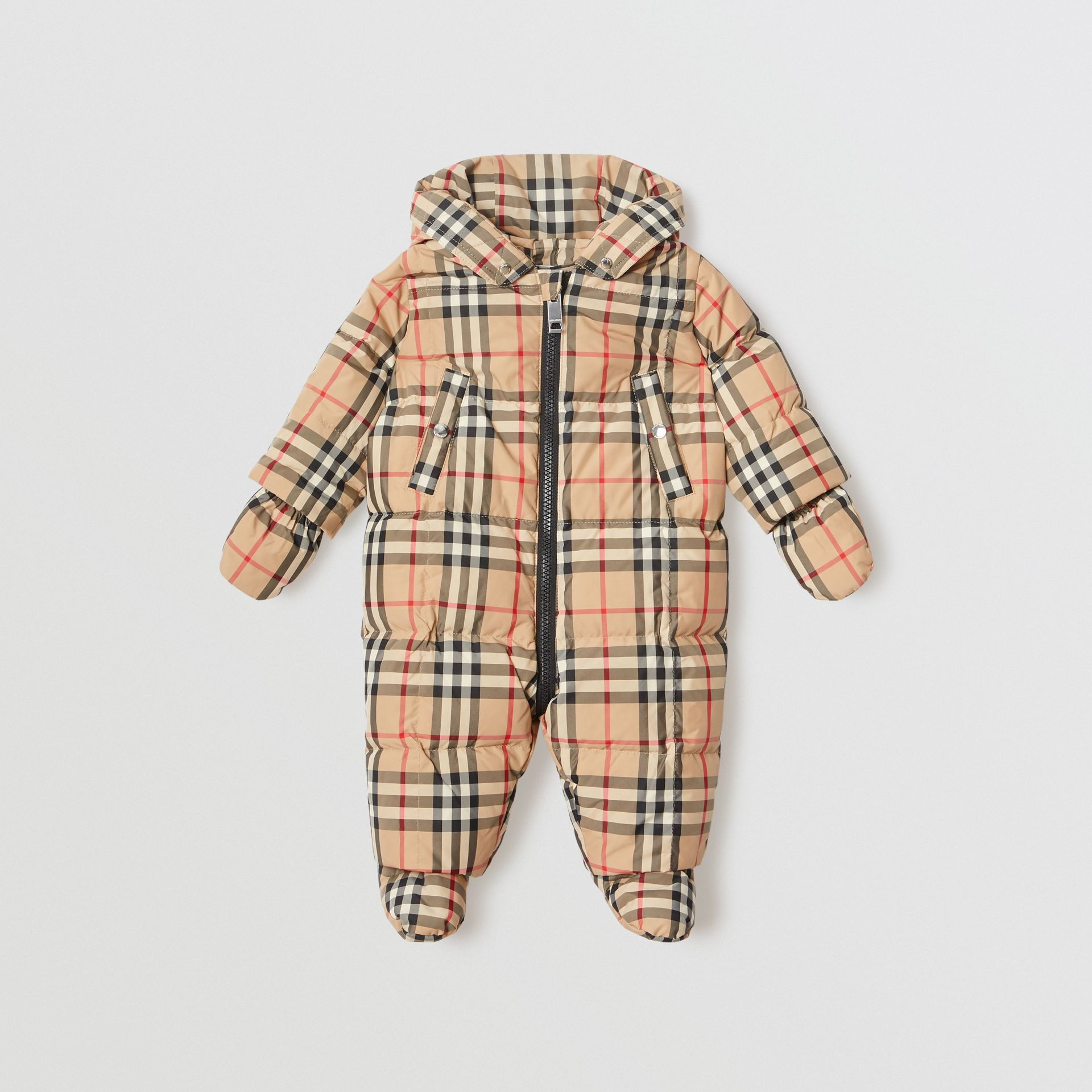 Vintage Check Down-filled Puffer Suit in Archive Beige - Children | Burberry United Kingdom - gallery image 0