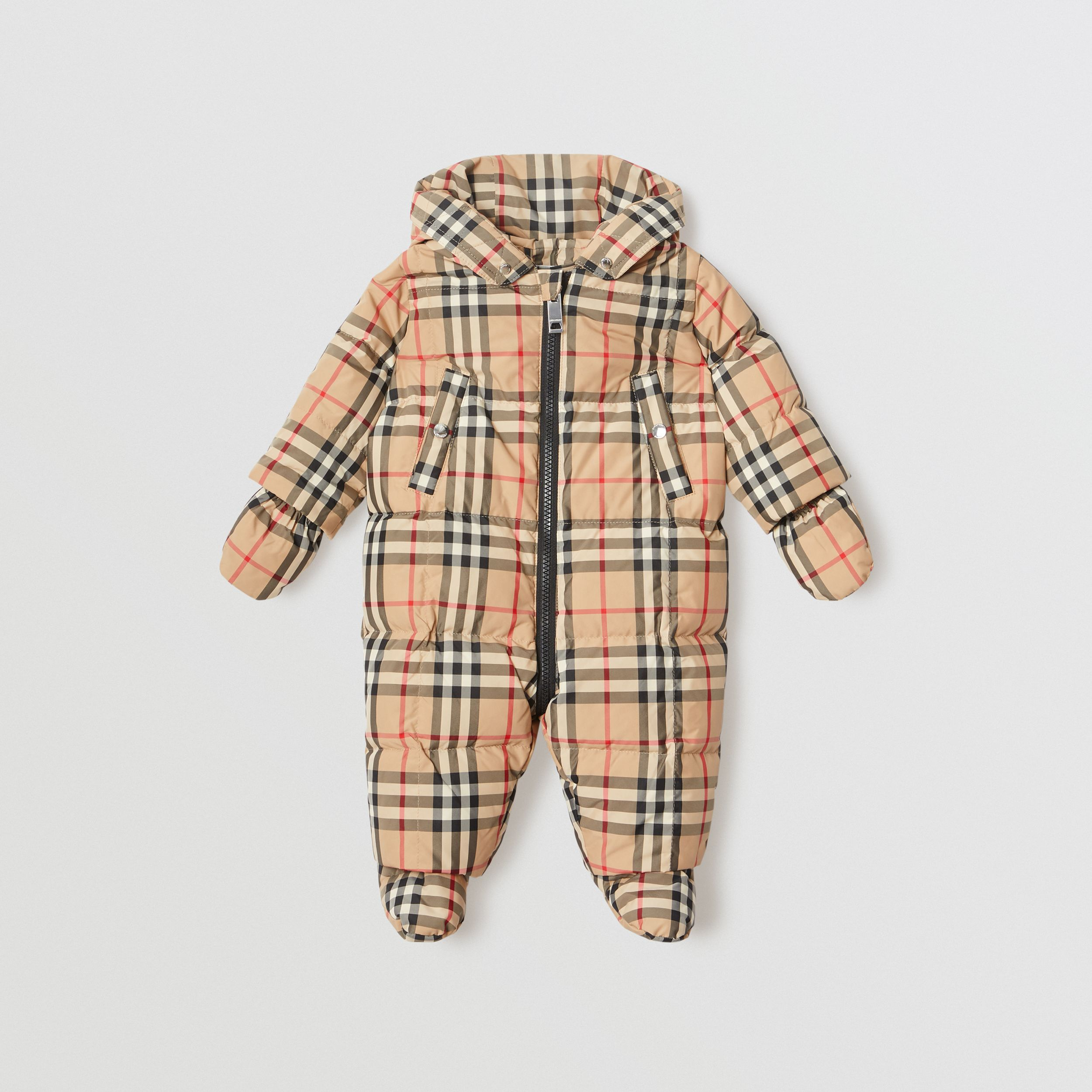 Vintage Check Down-filled Puffer Suit in Archive Beige - Children | Burberry - 1