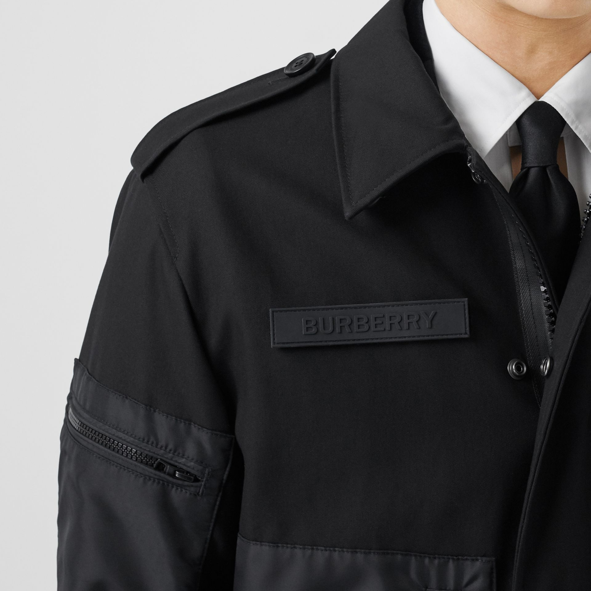 Cotton Gabardine Field Jacket in Black - Men | Burberry - gallery image 1