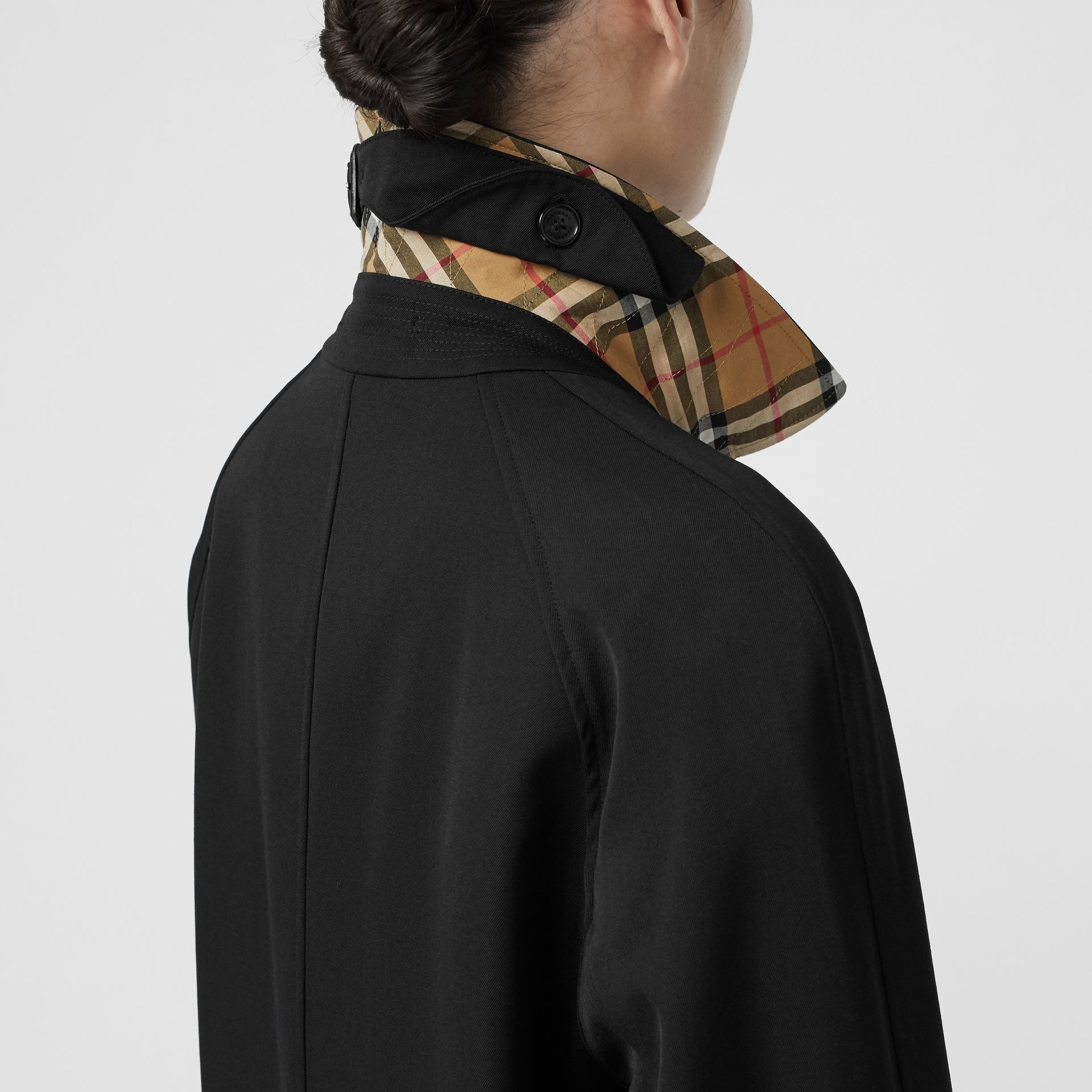 Grommet Detail Wool Gabardine Car Coat in Black - Women | Burberry United Kingdom - gallery image 4