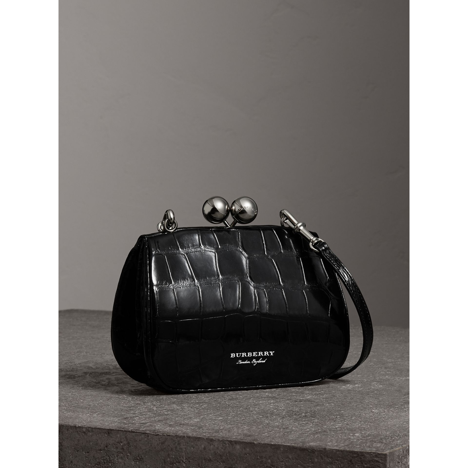 Small Alligator Metal Frame Clutch Bag in Black - Women | Burberry - gallery image 7