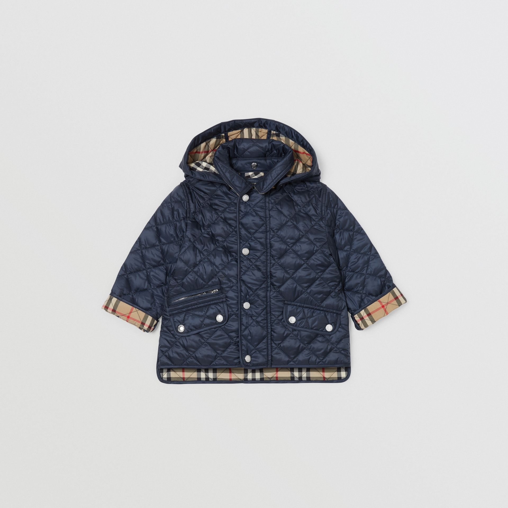 Detachable Hood Diamond Quilted Jacket in Navy - Children | Burberry - gallery image 0
