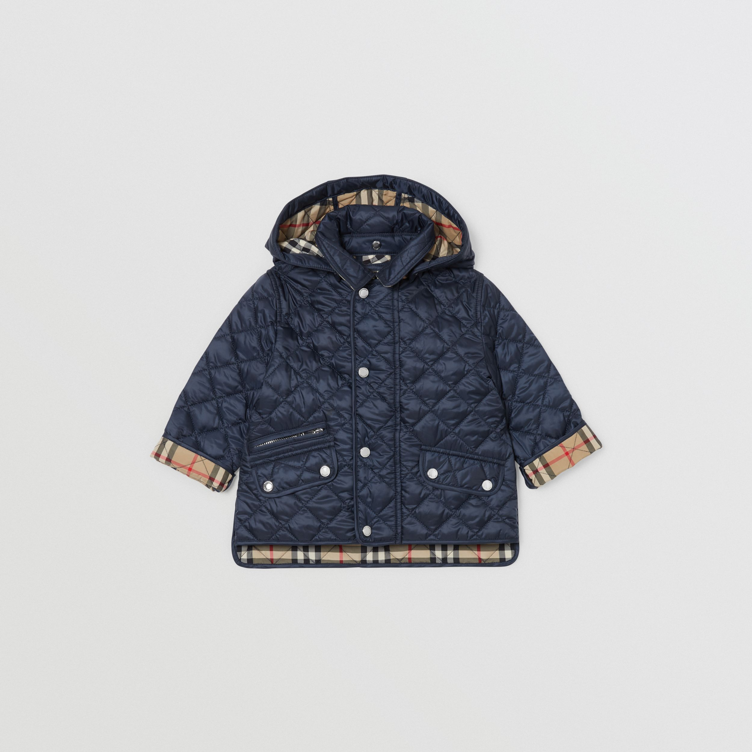Detachable Hood Diamond Quilted Jacket in Navy - Children | Burberry - 1