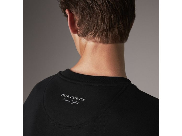 Striped Hem Cotton Blend Sweatshirt in Black - Men | Burberry Singapore - cell image 1