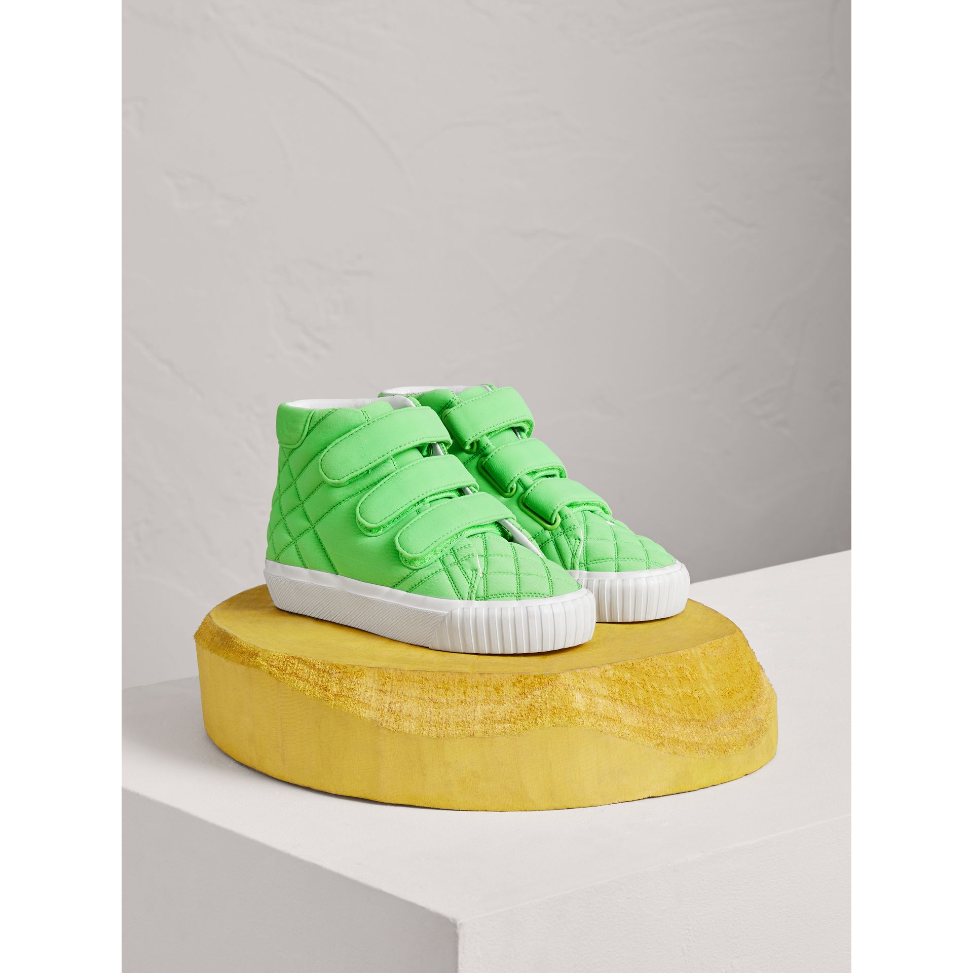 Quilted High-top Trainers in Neon Green | Burberry - gallery image 0