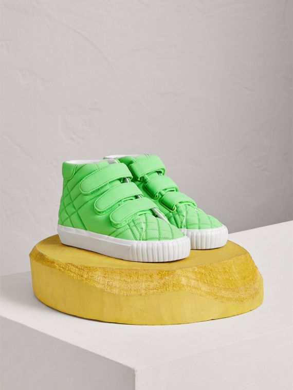 Quilted High-top Sneakers in Neon Green