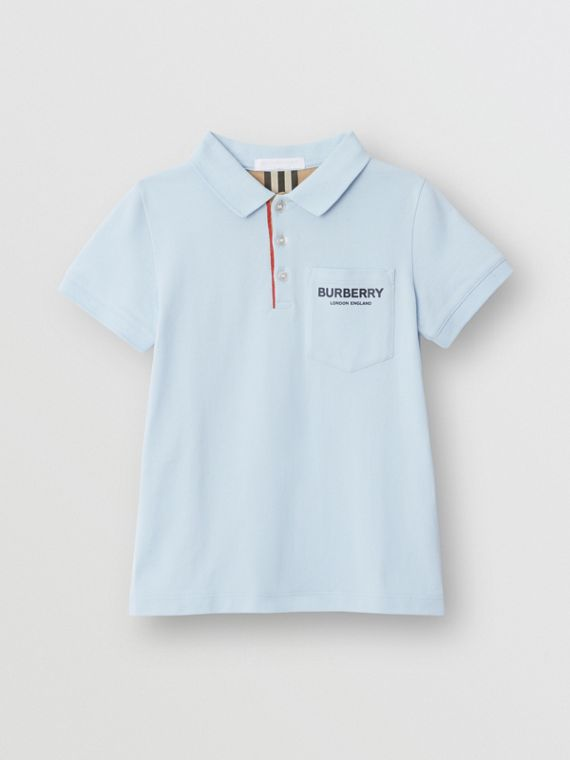 Icon Stripe Placket Cotton Piqué Polo Shirt in Light Blue