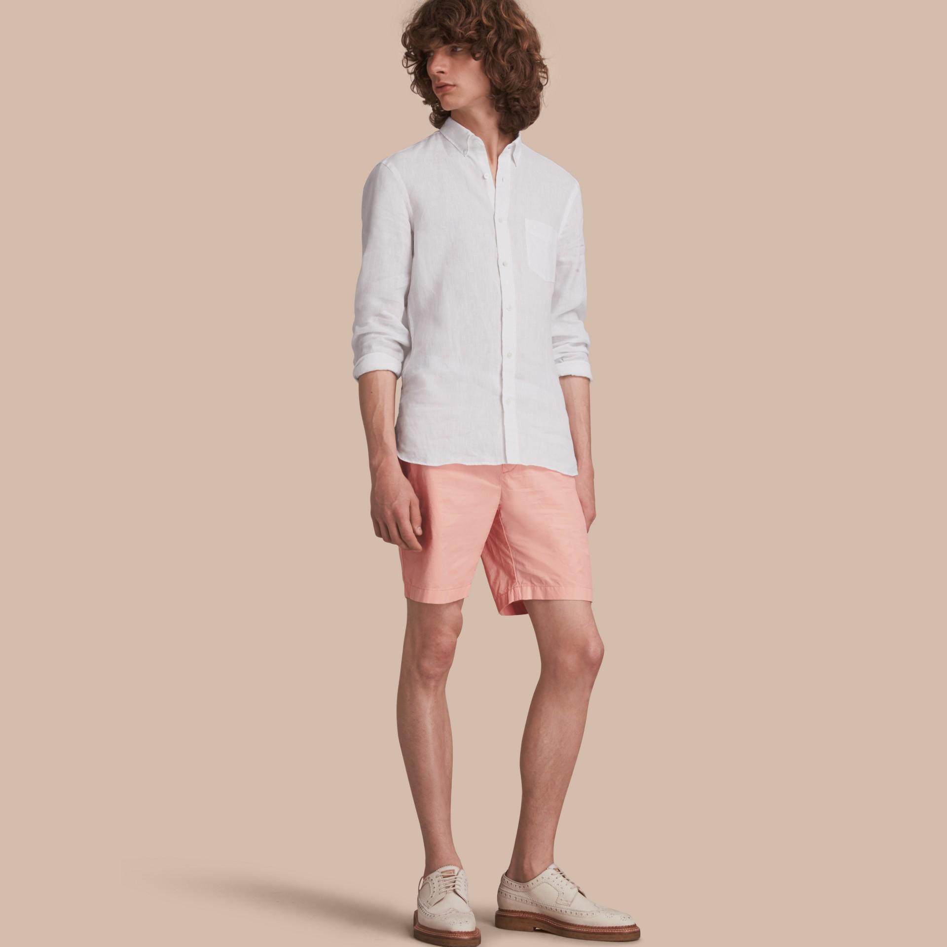 Cotton Poplin Chino Shorts Apricot Pink - gallery image 1