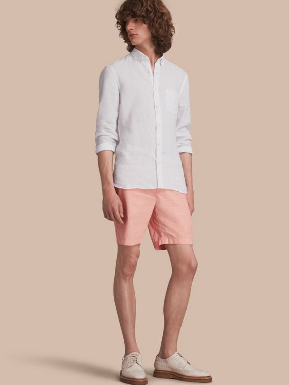 Cotton Poplin Chino Shorts in Apricot Pink